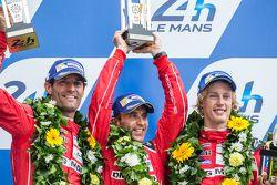 LMP1 podium: second place Porsche Team: Timo Bernhard, Mark Webber, Brendon Hartley