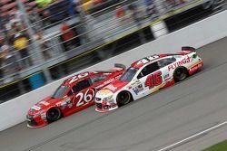Jeb Burton, BK Racing Toyota and Michael Annett, HScott Motorsports Chevrolet