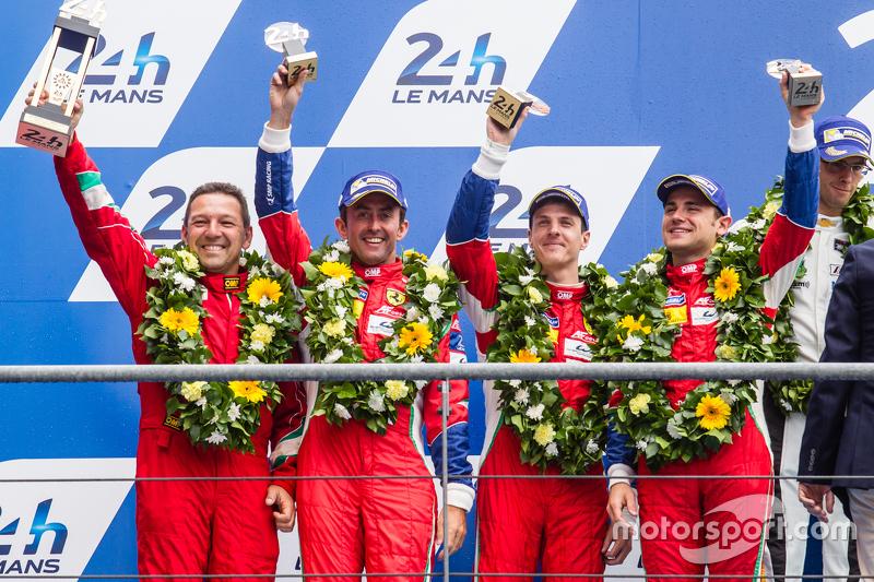 LMGT Pro podium: second place #71 AF Corse Ferrari 458 GTE: Davide Rigon, James Calado, Olivier Bere
