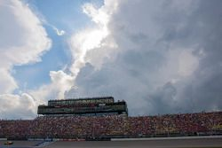Michigan International Speedway press and suites box with weather approaching