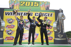 Pro Stock winner Greg Anderson, Funny Car winner John Force, Top Fuel winner Tony Schumacher