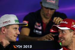 Нико Хюлькенберг, Sahara Force India F1 и Себастьян Феттель, Ferrari in the на пресс-конференции FIA