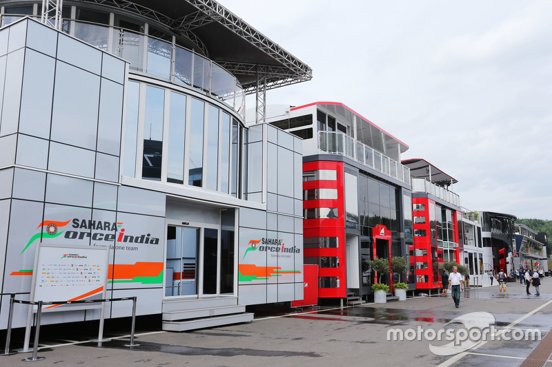 The Sahara Force India F1 Team motorhome in the paddock