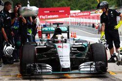 Lewis Hamilton, Mercedes AMG F1 W06 aux stands
