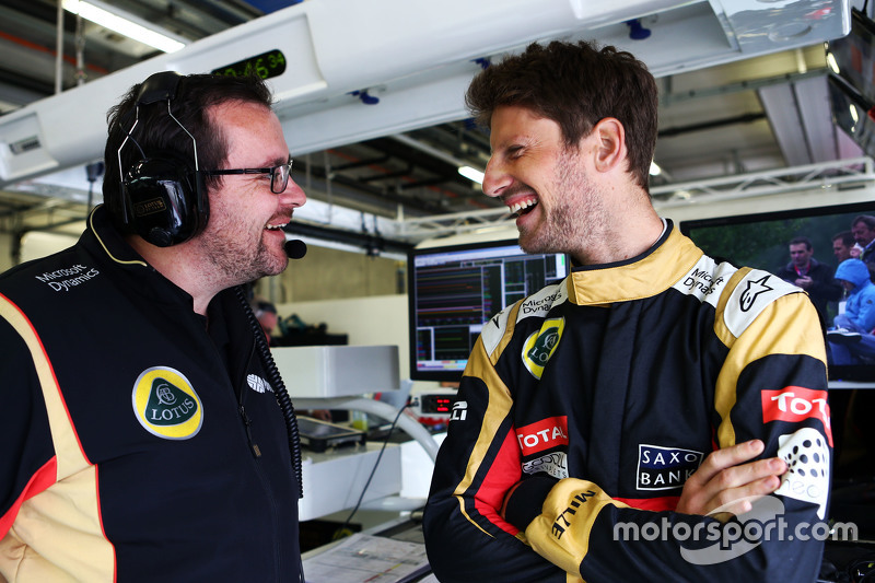 Julien Simon-Chautemps, Lotus F1 Team, Renningenieur, mit Romain Grosjean, Lotus F1 Team