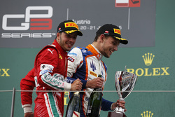 Race winner Luca Ghiotto, Trident, and second place Antonio Fuoco, Carlin