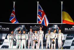 Podium: race winners Katsumasa Chiyo, Wolfgang Reip, Alex Buncombe, second place Steven Kane, Guy Sm