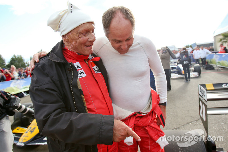 Niki Lauda, Mercedes Non-Executive Chairman and Gerhard Berger, at the Legends Parade