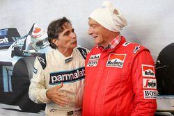 Nelson Piquet y Niki Lauda, en el desfile de leyendas