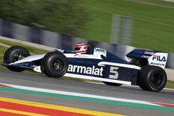 Nelson Piquet, in de Brabham BT52 op de Legends Parade