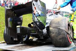 The damaged McLaren MP4-30 of Fernando Alonso, McLaren