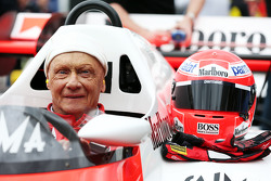 Niki Lauda, Mercedes Non-Executive Chairman in the McLaren MP4/2 at the Legends Parade