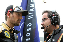 Julien Simon-Chautemps, Romain Grosjean race engineer, Lotus F1 Team and Romain Grosjean, Lotus F1