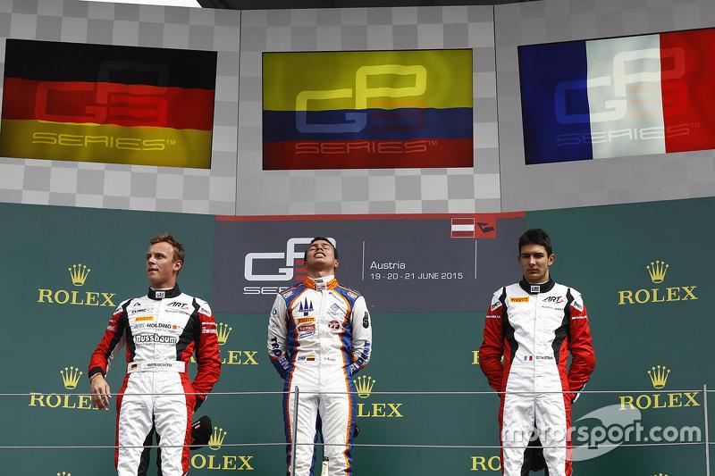 1. Oscar Tunjo, Trident; 2. Marvin Kirchhöfer, ART Grand Prix, und 3. Esteban Ocon, ART Grand Prix