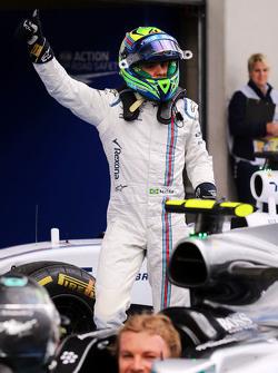 Felipe Massa, Williams celebrates his third position in parc ferme