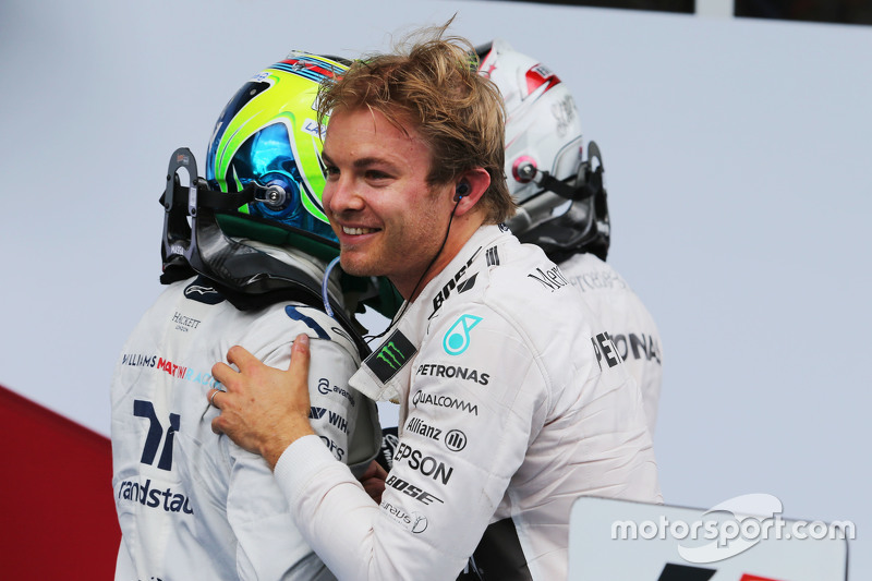 Race winner Nico Rosberg, Mercedes AMG F1 celebrates with team mate Lewis Hamilton, Mercedes AMG F1 and Felipe Massa, Williams in parc ferme