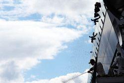 El ganador, Nico Rosberg, Mercedes AMG F1 celebra en el podium