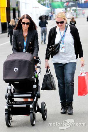 Minttu Virtanen, girlfriend of Kimi Raikkonen, Ferrari, with a pushchair
