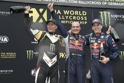 Podium: second place Petter Solberg, SDRX Citroën DS3 and winner Davy Jeanney and third place Timmy