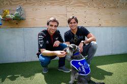 Jérôme d'Ambrosio, Dragon Racing, und Nelson Piquet jr., China Racing, beim Besuch des Battersea-Hun