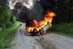 Пожар экипажа Александра Михайлова