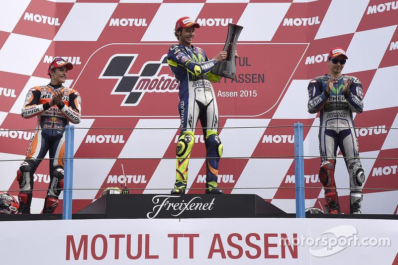 Podio: 1º Valentino Rossi, 2º Marc Márquez, 3º Jorge Lorenzo