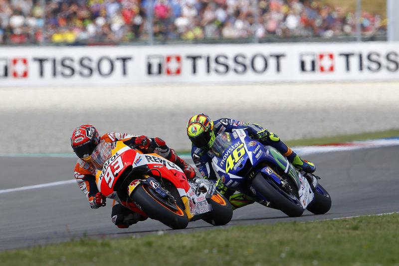 Marc Marquez, Repsol Honda Team y Valentino Rossi, Yamaha Factory Racing