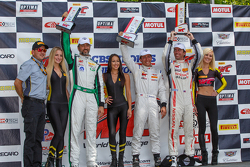 GTA podium: Race winner Frank Montecalvo, second place Bryan Heitkotter and third place Timothy Papp