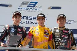 Подиум третьей гонки: второе место - Джордж Расселл, Carlin, победитель - Антонио Джовинацци, Jagony