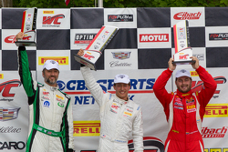 GTA Podium: Race winner Frank Montecalvo, Second place Henrique Cisneros and third place Timothy Pa