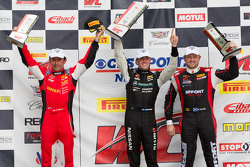 GT Podium: Race winner James Davison, second place Ryan Dalziel and third place Olivier Beretta