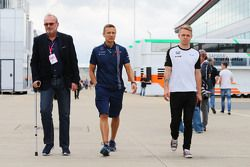 Didier Coton, Driver Manager with Antti Vierula, Personal Trainer and Kevin Magnussen, McLaren Test and Reserve Driver.