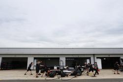 The Hilmer Motorsport team practice pitstops with Jon Lancaster's car, Hilmer Motorsport