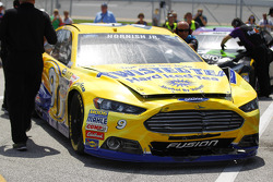 Wrecked car of Sam Hornish Jr., Richard Petty Motorsports Ford