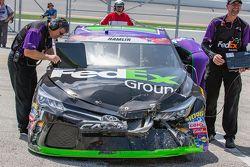 Damaged car of Denny Hamlin, Joe Gibbs Racing Toyota