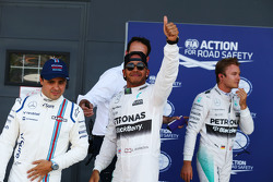 Qualifying parc ferme: third place Felipe Massa, Williams and polesitter Lewis Hamilton and second place Nico Rosberg, Mercedes AMG F1