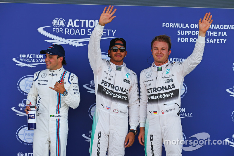 Qualifying parc ferme: third place Felipe Massa, Williams and polesitter Lewis Hamilton and second p