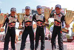Kazanan Sébastien Ogier ve Julien Ingrassia, Volkswagen Polo WRC, Volkswagen Motorsport, ikinci Andr