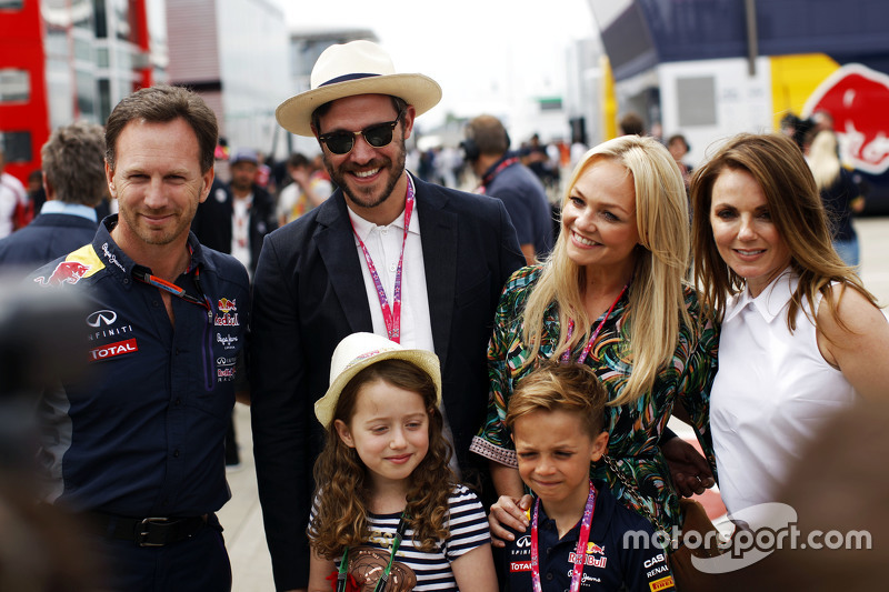 Christian Horner, Chefe da Red Bull Racing com Will Young, Emma Bunton e Geri Halliwell