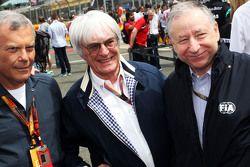 Sir Martin Sorrell, WPP-Geschäftsführer, mit Bernie Ecclestone und Jean Todt, FIA-Präsident