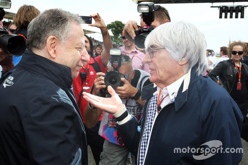 Jean Todt, Presidente FIA con Bernie Ecclestone sulla griglia di partenza