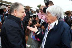 Jean Todt, FIA President with Bernie Ecclestone, on the grid