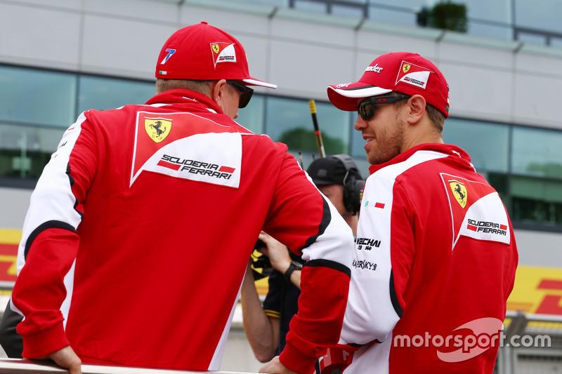 Kimi Raikkonen, Ferrari with Sebastian Vettel, Ferrari on the drivers parade