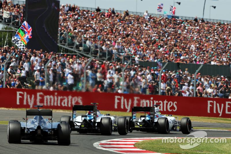 Felipe Massa, Williams FW37 leads team mate Valtteri Bottas, Williams FW37 and Lewis Hamilton, Mercedes AMG F1 W06