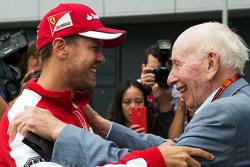 (L to R): Sebastian Vettel, Ferrari with John Surtees