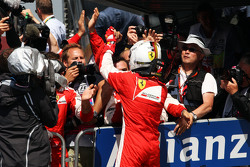 Sebastian Vettel, Ferrari celebrates his third position in parc ferme