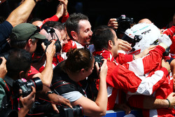 Sebastian Vettel, Ferrari celebrates his third position with the team in parc ferme
