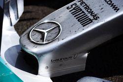 O bico de Nico Rosberg, Mercedes AMG F1 no parc ferme