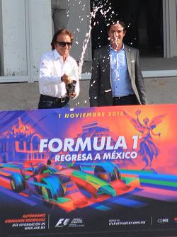 Emerson Fittipaldi, ambassadeur du GP du Mexique avec Rodrigo Sanchez