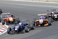 George Russell, Carlin Dallara Volkswagen and Mikkel Jensen and Santino Ferrucci, Mücke Motorsport D